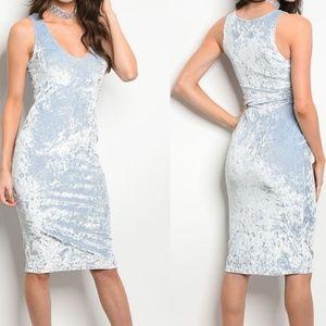 Dresses & Skirts - Light Blue Velvet Bodycon Midi Dress